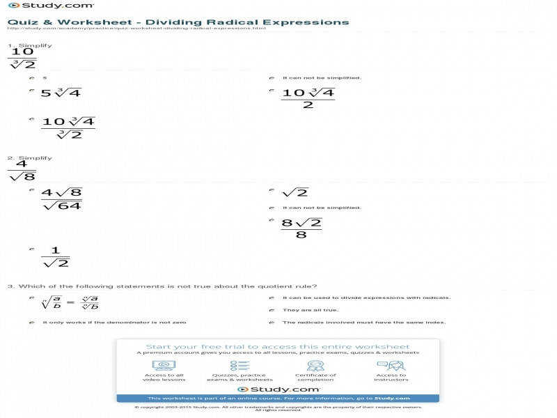 Quiz Worksheet – Dividing Radical Expressions Study