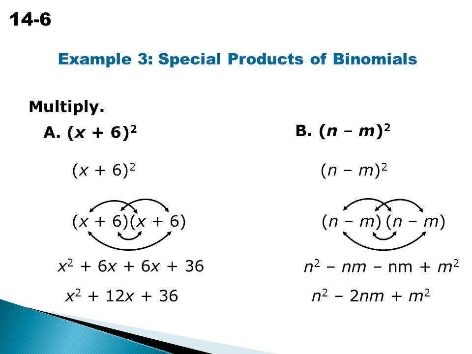 Example 3 Special Products of Binomials