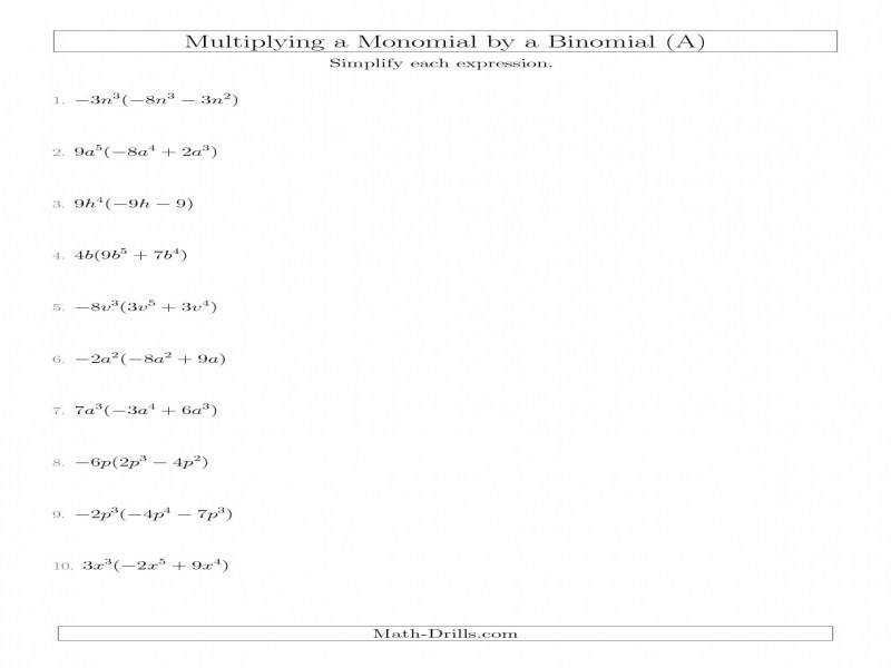 Multiplying A Monomiala Binomial A