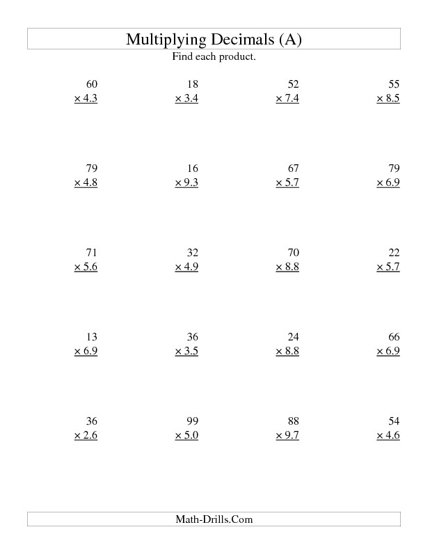 Multiplying Decimals Worksheet Two Digit Whole by Two Digit Tenths A