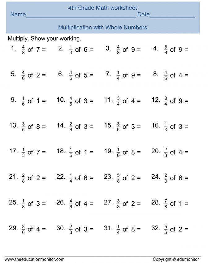 Free Printable Worksheets For 4th Grade Multiplying Fractions Worksheet Pdf Multiplication Fractions Worksheets Grade 5