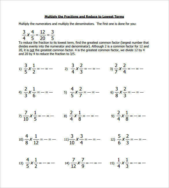 Cross Multiplying Fractions Worksheets
