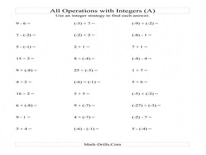 All Operations With Integers Range 9 To 9 With Negative