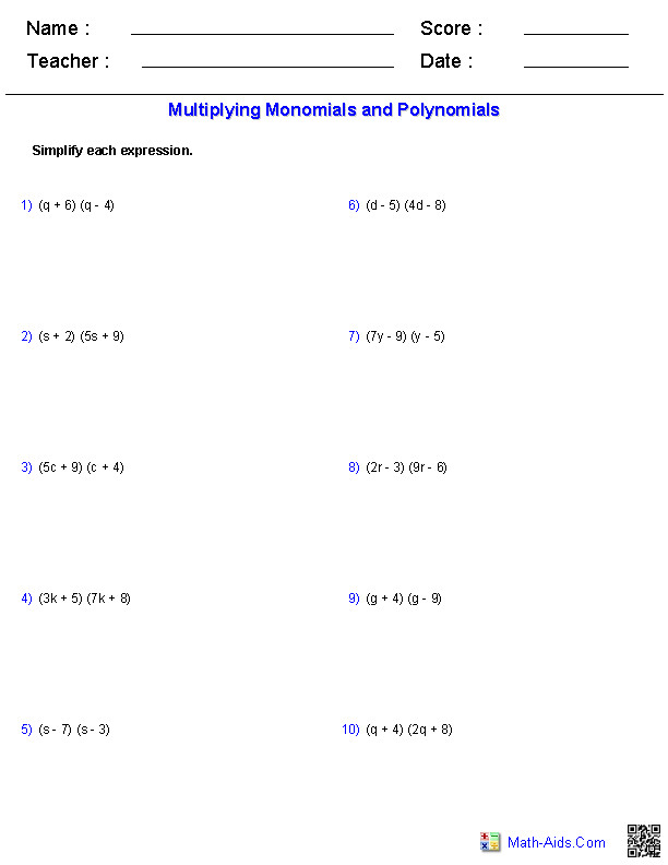 Multiplying Binomials Monomials and Polynomials Worksheets