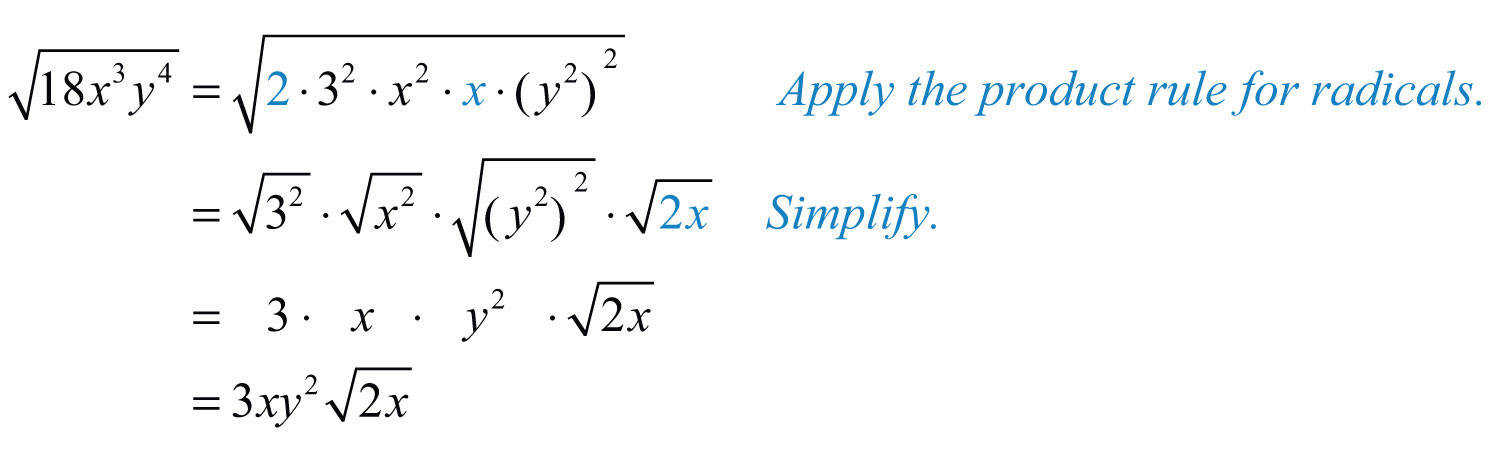 Make these substitutions and then apply the product rule for radicals and simplify