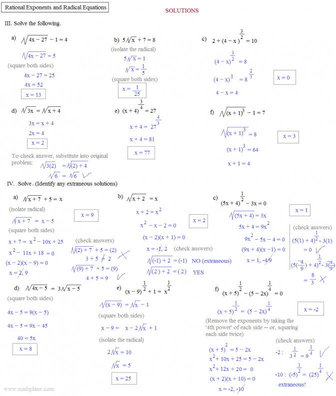 Solving Equations With Fractional Exponents Worksheet Jennarocca Multiplying Radicals Kuta Rational Exponents And Radical Equations 2