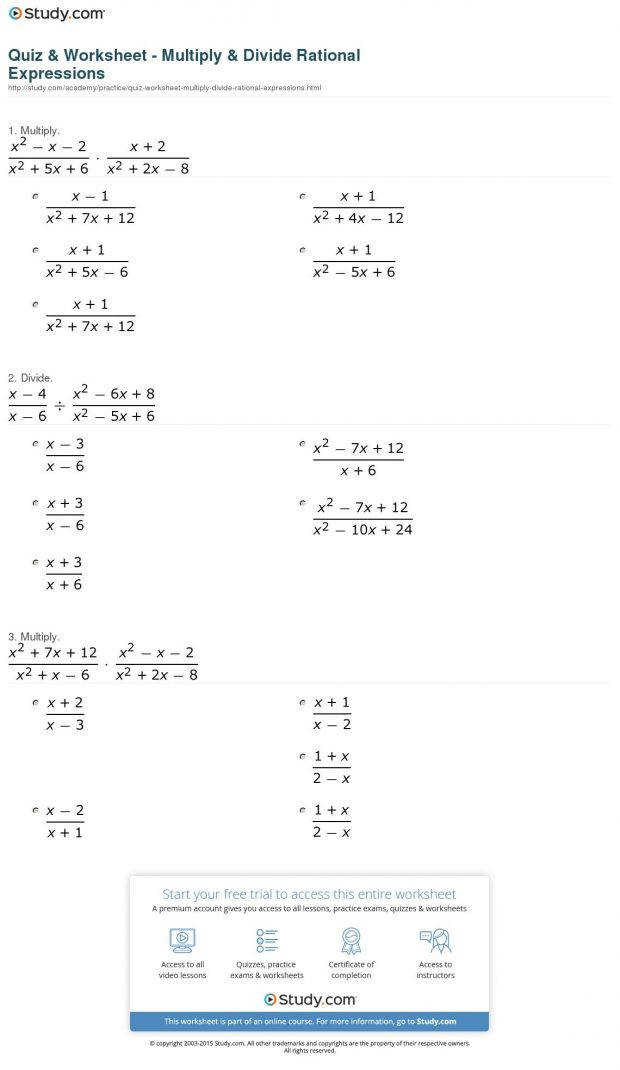 Math Gallery Multiplying and dividing rational expressions worksheet answers visualize
