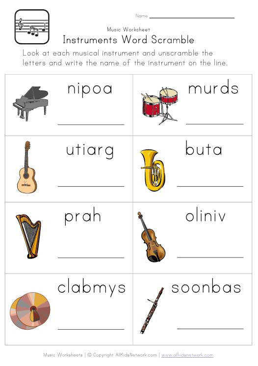 A fun and free musical instruments word scramble worksheet