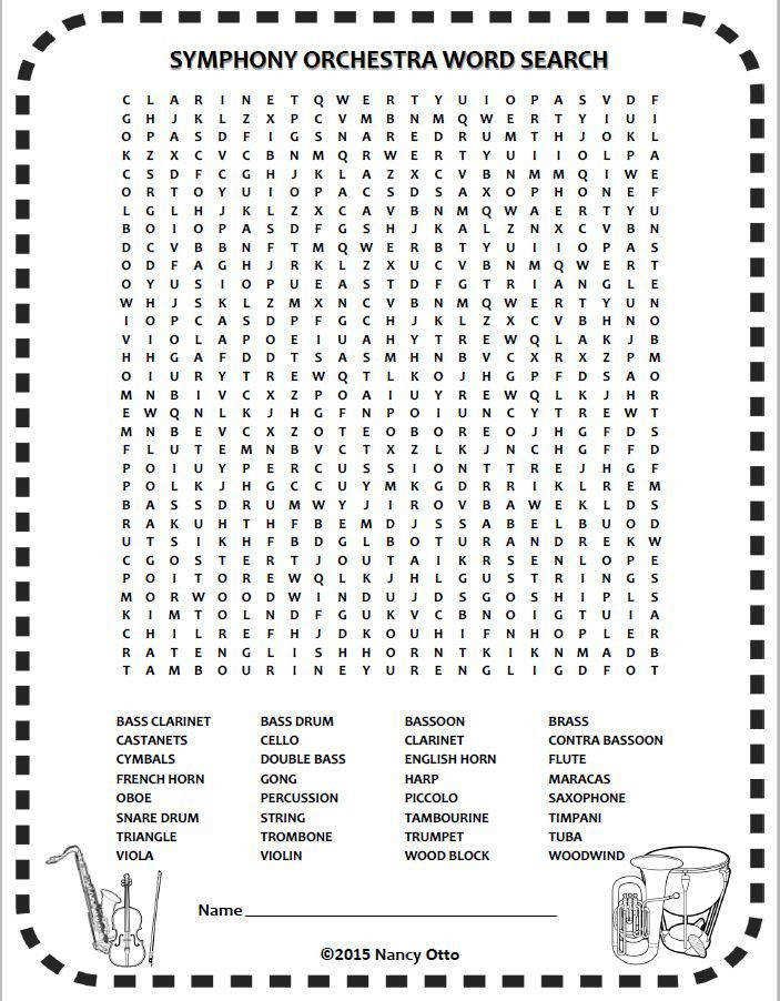 INSTRUMENTS of the ORCHESTRA word search e of 24 FREE music worksheets for busy