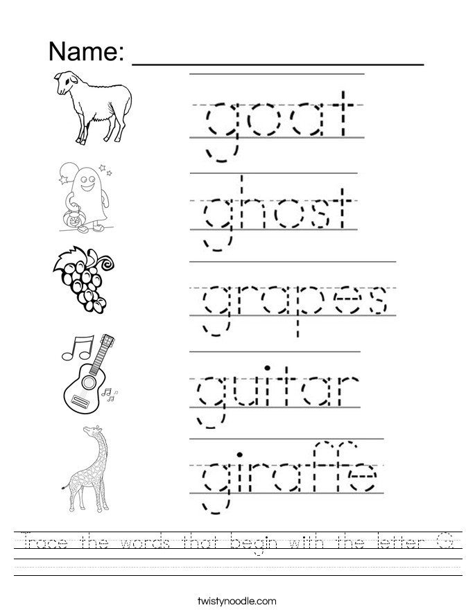 Trace the words that begin with the letter G Worksheet