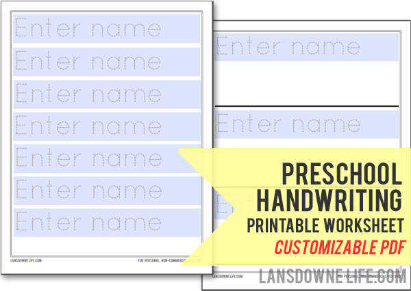 Preschool handwriting printable worksheet Customizable PDF