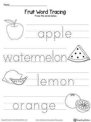 Practice identifying beginning letter sound of fruits and tracing the words in this printable worksheet