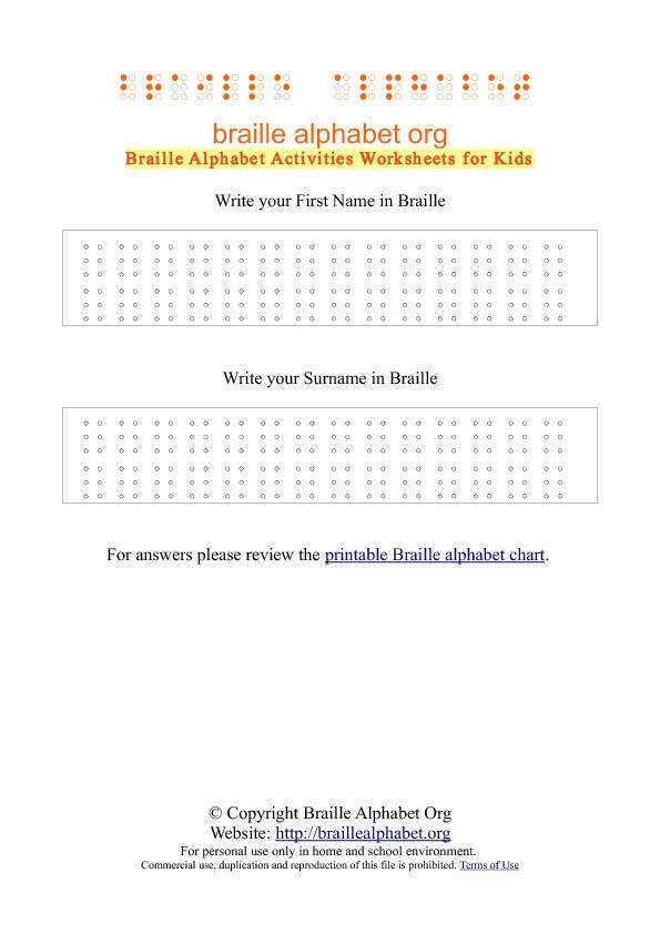 Write your name in Braille Worksheet