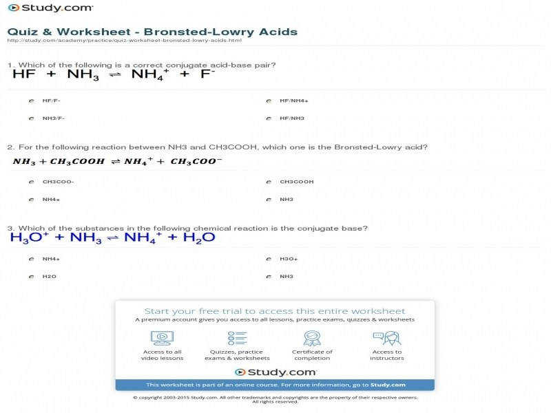 Quiz & Worksheet Bronsted Lowry Acids