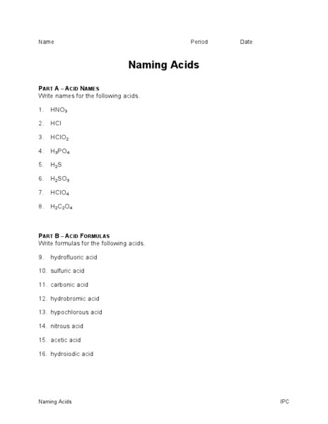 Naming Acids Worksheet | Homeschooldressage.com