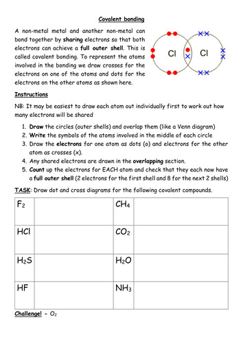 This worksheet clearly explains how to draw dot and cross diagrams for covalent pounds using as an example Pupils are then asked to practise drawing
