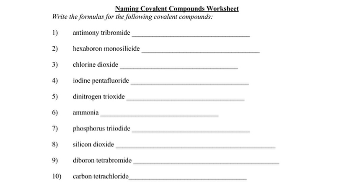 rules for naming covalent compounds worksheet kidz activities. Black Bedroom Furniture Sets. Home Design Ideas