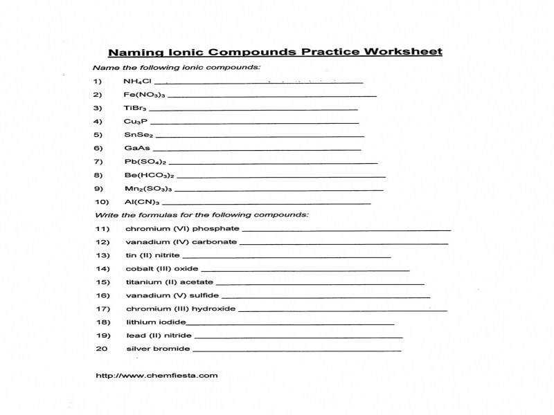 Naming Chemical Compounds Worksheet Answer Key Kidz Activities
