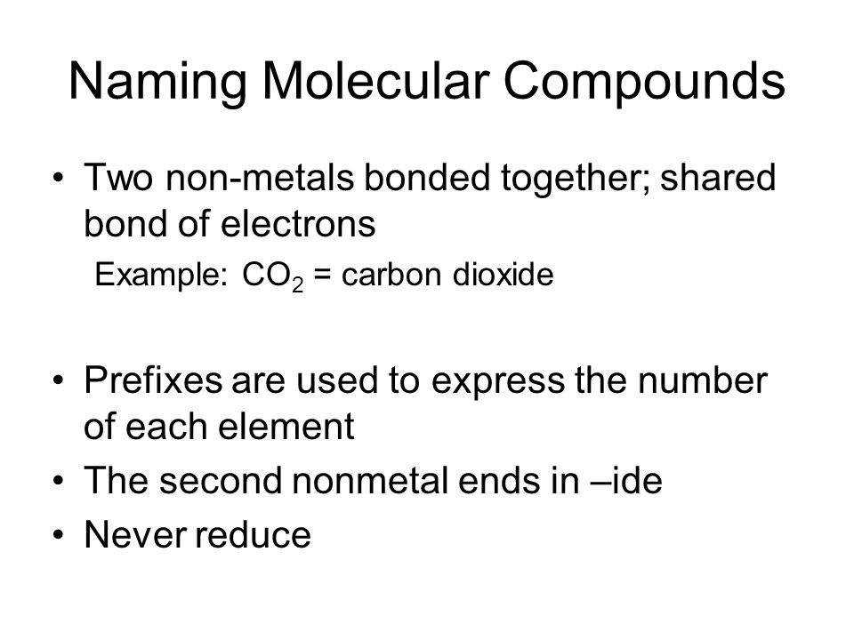 21 Naming Molecular pounds