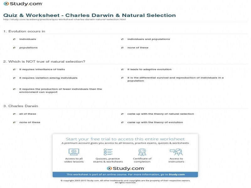 Quiz & Worksheet Charles Darwin & Natural Selection