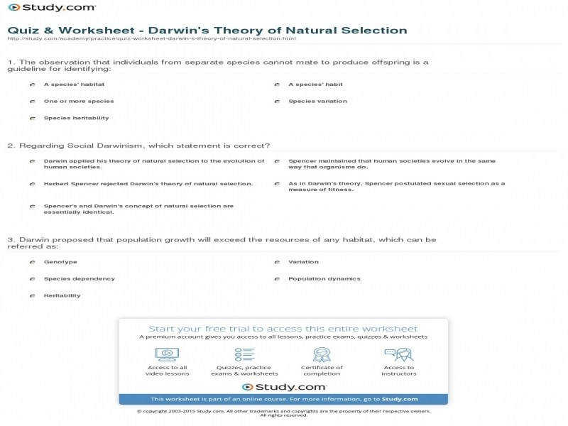Quiz & Worksheet – Darwin s Theory Natural Selection