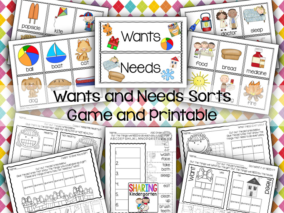 Wants and Needs Charts Games and Printables