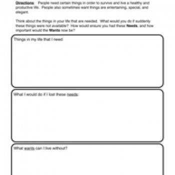 Number Names Worksheets needs and wants worksheet Needs and Wants Worksheet 2