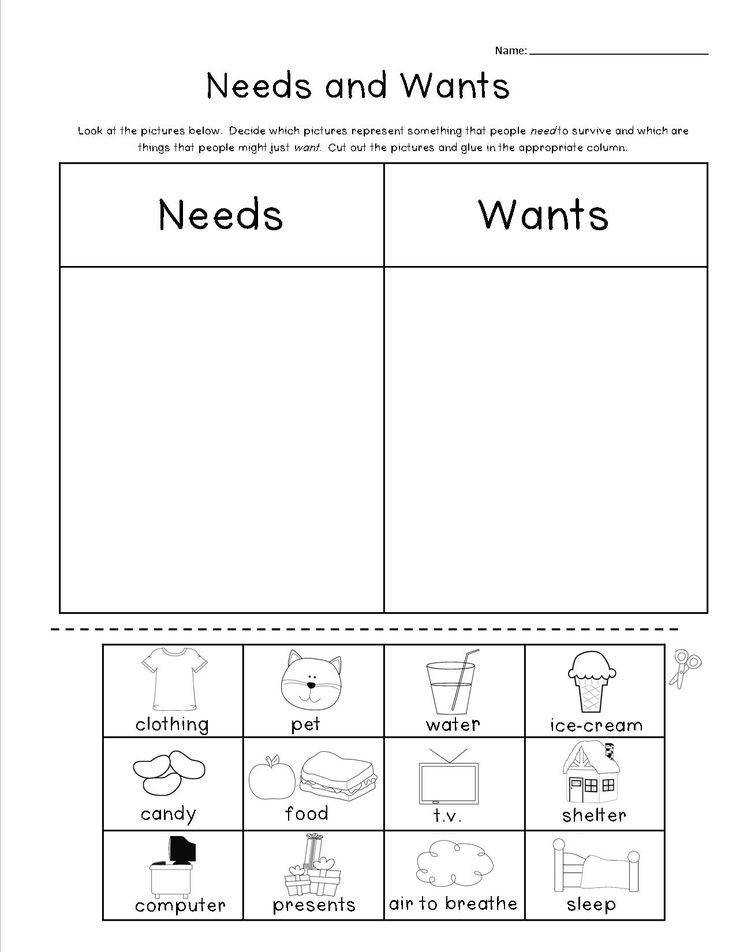 Free Wants And Needs Worksheet free printable needs and wants