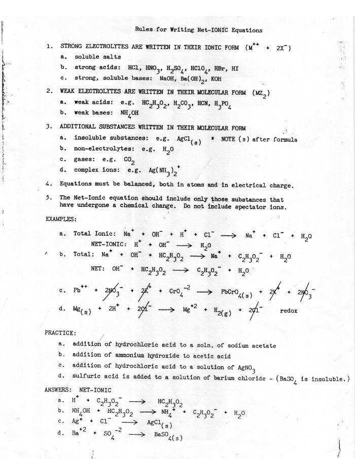 WORKSHEET NET IONIC EQUATIONS Ccchemistry