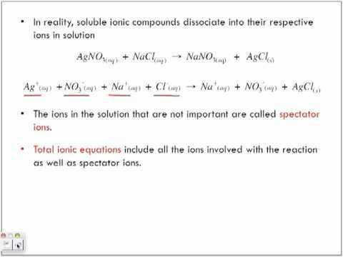 Net Ionic Equations and Spectator Ions
