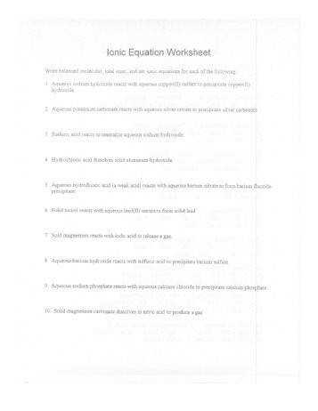 6 Ionic Equation Worksheet The Learning Lab at HFCC