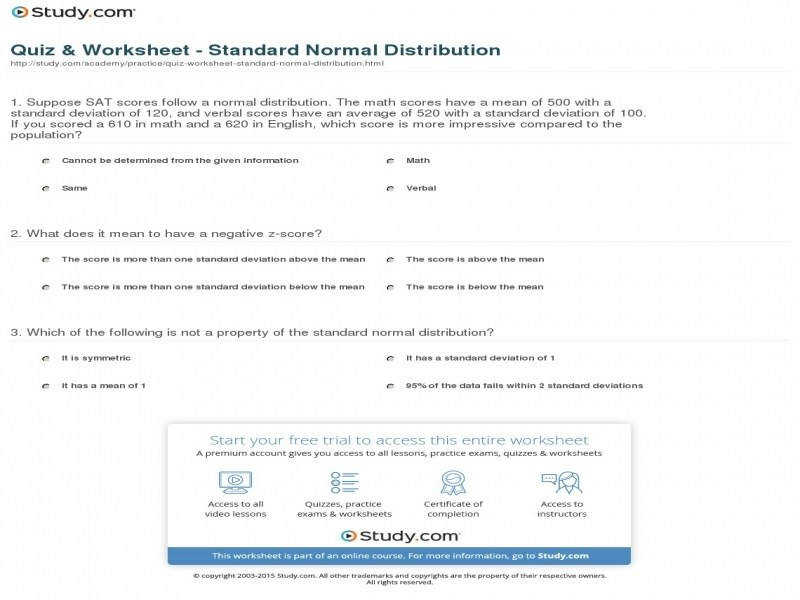 Quiz & Worksheet Standard Normal Distribution