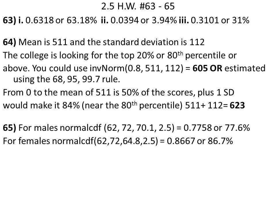 Worksheet Normal Distribution