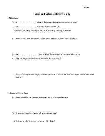 Chapter 16 resource stars and galaxies Note taking worksheet energy
