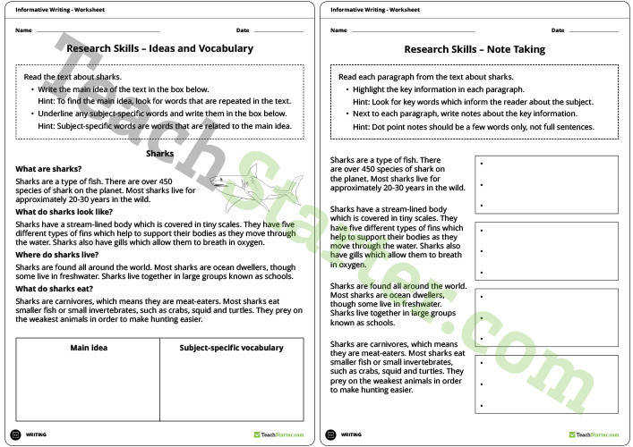Research Skills Worksheets Note Taking Teaching Resource – Teach Starter