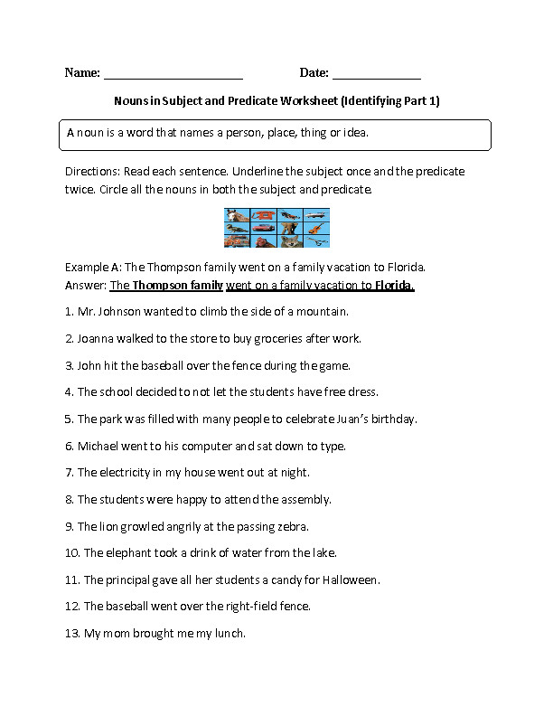 Nouns in Subject and Predicate Worksheet