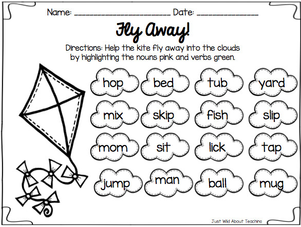 Just another great way to introduce review the skills of nouns & verbs Worksheets like this make learning fun and not boring
