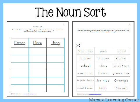 Directions for The Noun Sort Worksheet