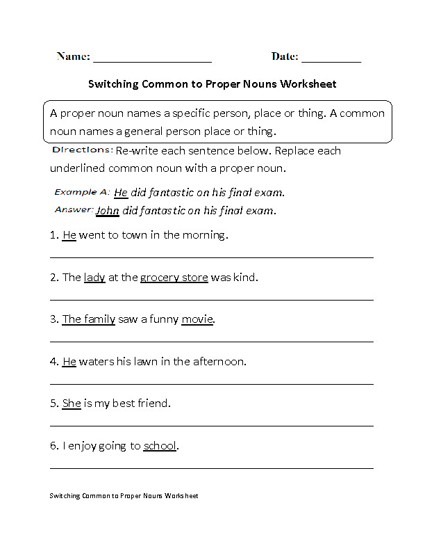Proper and mon Nouns Worksheets