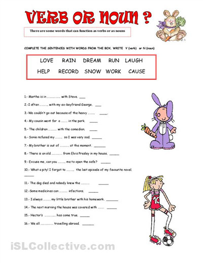 Nouns And Verb Worksheets 4