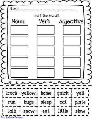 First Grade and Fabulous Just Hodgepodge and a little freebie worksheet Nouns Verbs Adjectives