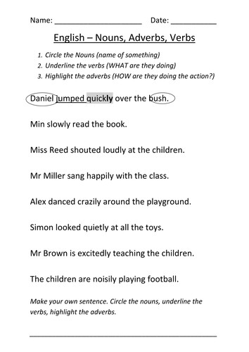 Worksheet Nouns Verbs and Adverbs by mignonmiller Teaching Resources Tes