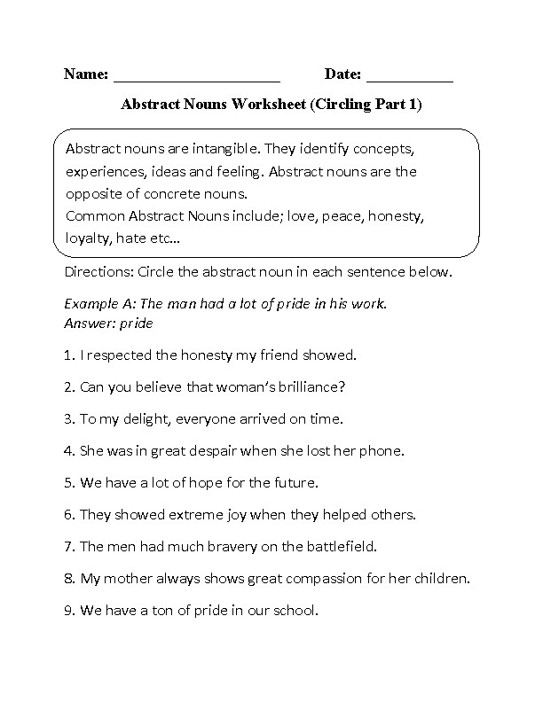 Abstract Nouns Worksheets