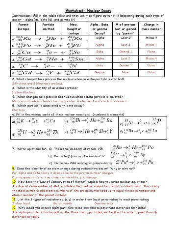 Half Life Graph Worksheet Answers Worksheets Aquatechnics Biz Source · Printables Nuclear Decay Worksheet Ronleyba Worksheets Printables