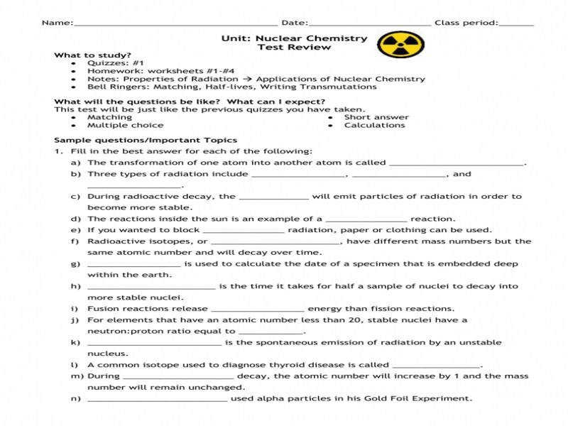 Nuclear Chemistry Test Review