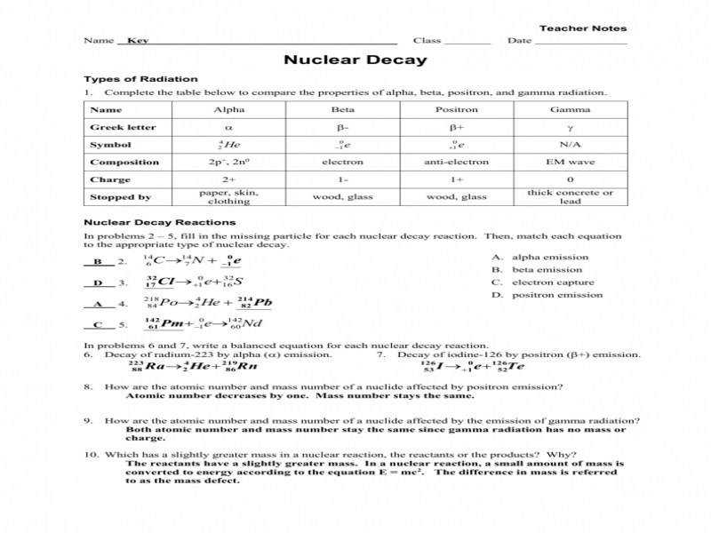 Worksheet – Radioactive Decay Fission fusion Key