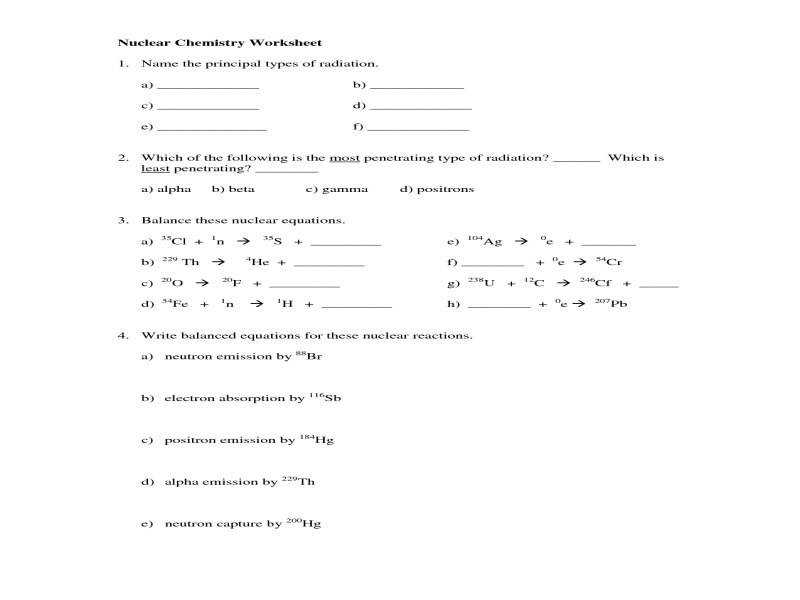 Nuclear Reaction Worksheet Worksheets