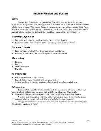 Nuclear Fission And Fusion Worksheet Free Worksheets Library