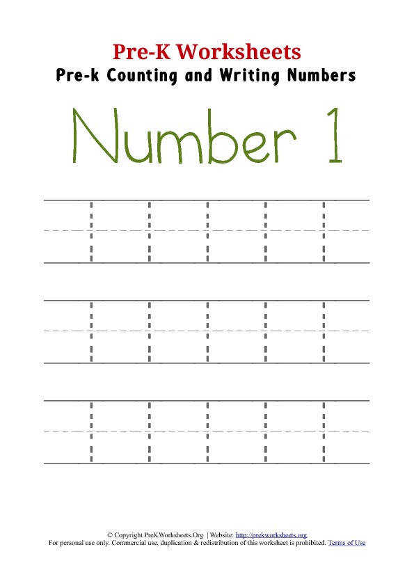 Writing Number 1 Worksheet