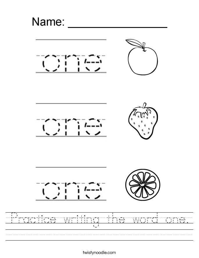 Practice writing the word one Handwriting Sheet